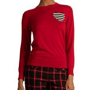 Trina Turk Old Fashion Heart Stripe Wool Sweater M